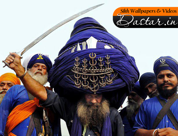 Traditional Sikh Warrior Or Nihang With A Huge Traditional Turban ...