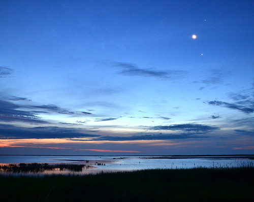 morning moon water sunrise star nikon d3100