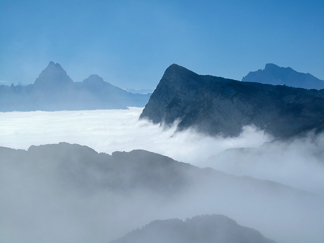 The Untersberg battered by waves of fog