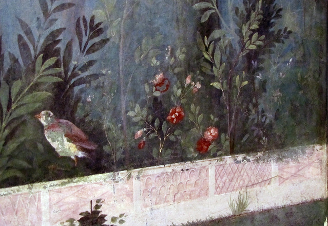 Painted Garden Villa Of Livia Detail With Bird On Wall