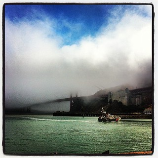 Our Coast Guard friends appearing out of the fog under the Golden Gate. #goldengatebridge #fog