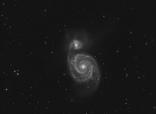 The Whirlpool Galaxy M51 in luminance