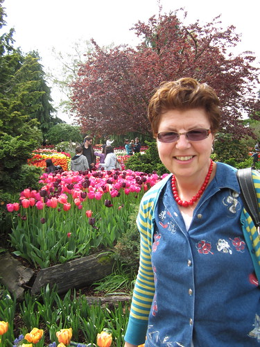 Mom visits the tulips