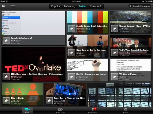 Videos in ShowMe for iPad shared by Twitter Users I follow