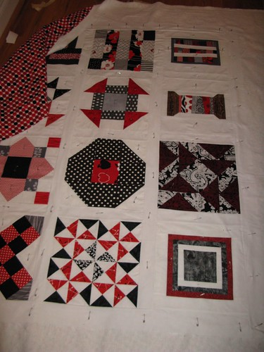 Red, Grey, Black Bee Block Quilt