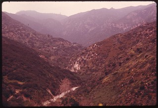 View of the Malibu Canyon area of the Santa Monica Mountains near Malibu, California, which is located on the northwestern edge of Los Angeles County, May 1975