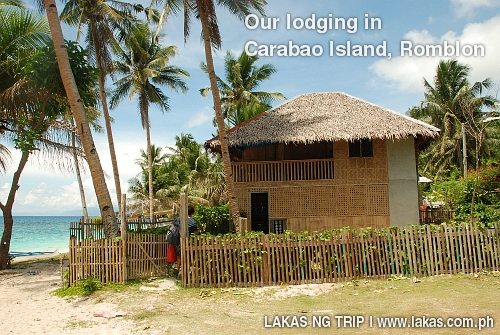 Our nipa house beach front lodging in Brgy. Polacion, San Jose, Carabao Island, Romblon