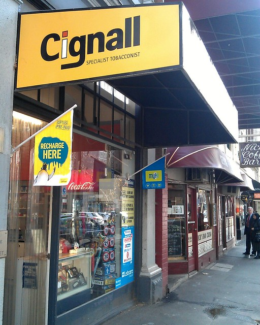 Myki retailer in Queen Street: Cignall Tobacconist