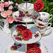 Red Roses Vintage Cupcake Stand