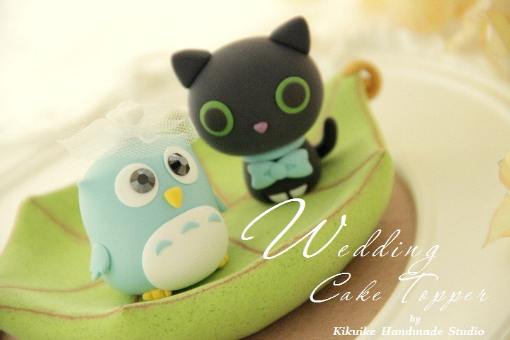Wedding Cake Topper-love owl and cat with leaf boat - a photo on ...