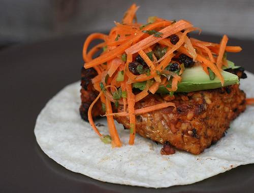 Grilled Tempeh Tacos with Carrot Coleslaw