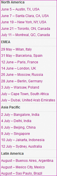Dates & Venues for the BlackBerry 10 Jam World Tour.