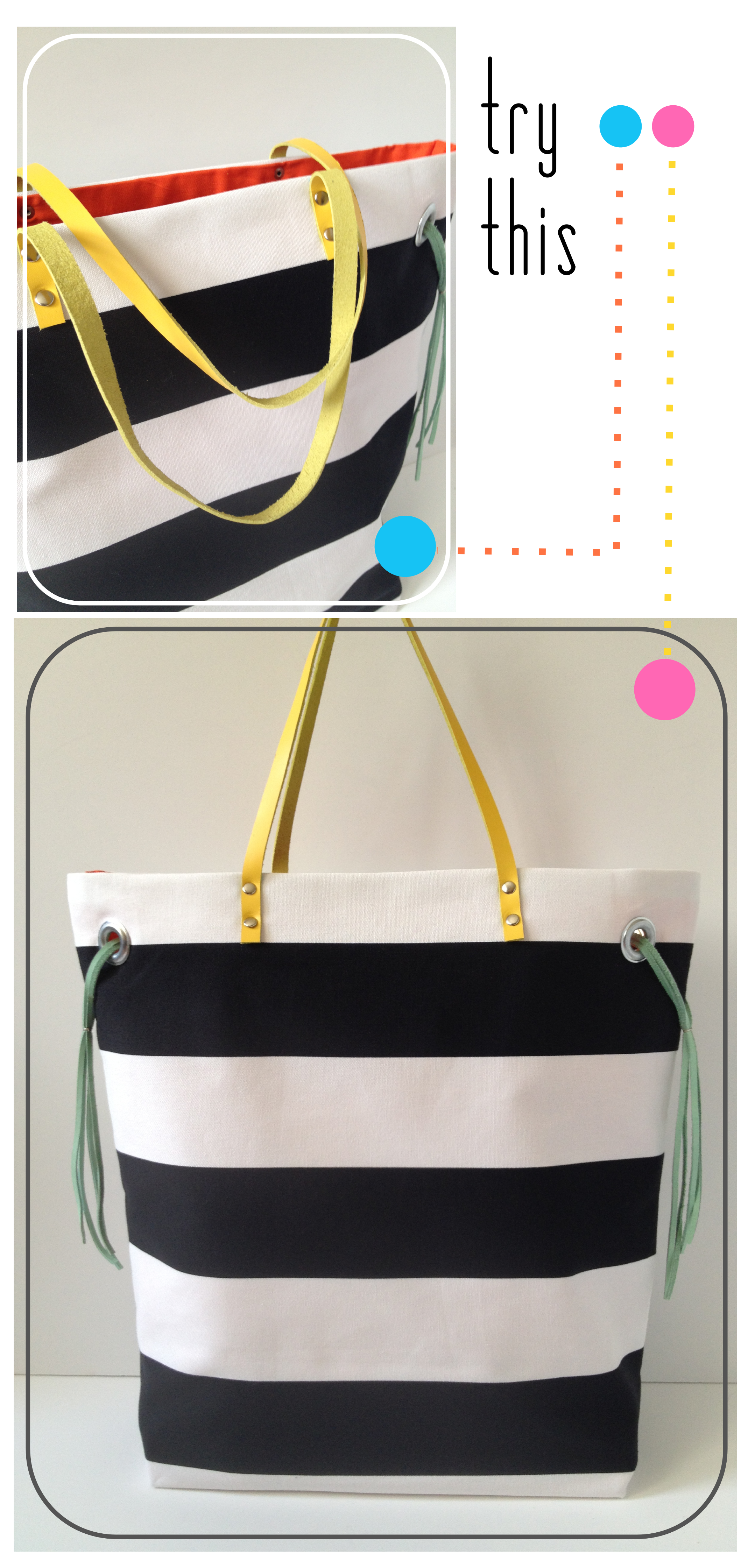 Try This - Stripe + Neon Tote