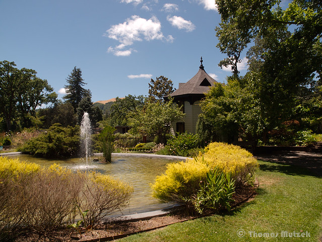 Library and Fountain at the Marin Art & Garden Center, Ross, Marin, California