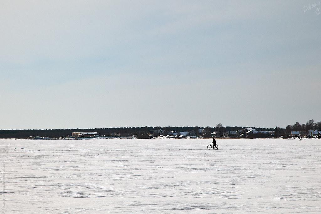 На велосипеде по льду Онеги