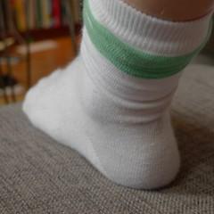 outdoor shoe(0.0), footwear(0.0), shoe(0.0), human body(0.0), wool(1.0), white(1.0), limb(1.0), leg(1.0), sock(1.0),