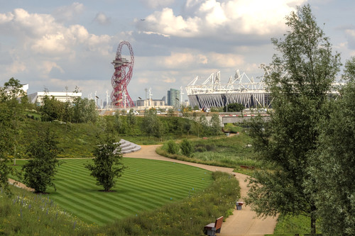 2012-06-25 Olympic Park and wetlands with the stadium and Orbit in the background 2