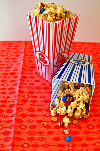 4th of July Marshmallow Caramel Popcorn