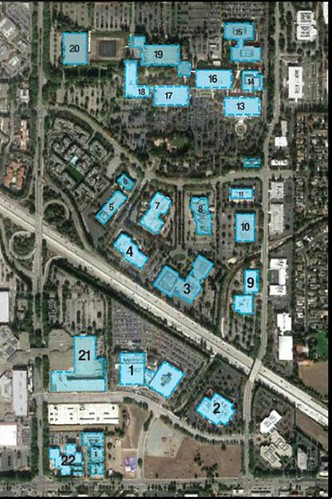 the existing site, with big-box suburban buildings highlighted (courtesy of Shay Levanon and Amir Levanon)
