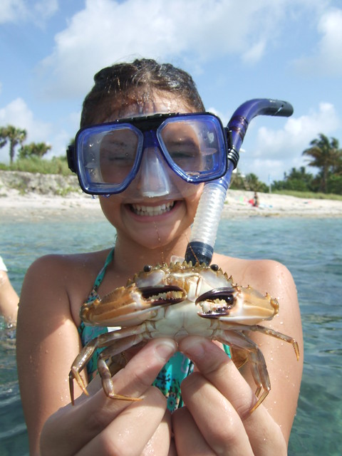 Valeria with a swimming crab