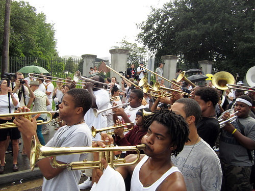 Second line for Uncle Lionel Batiste, St Philip Street in Treme. Photo by WWOZ.