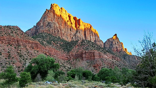 Sunset on Watchman from Watchman Campground Site #16 - Zion National Park