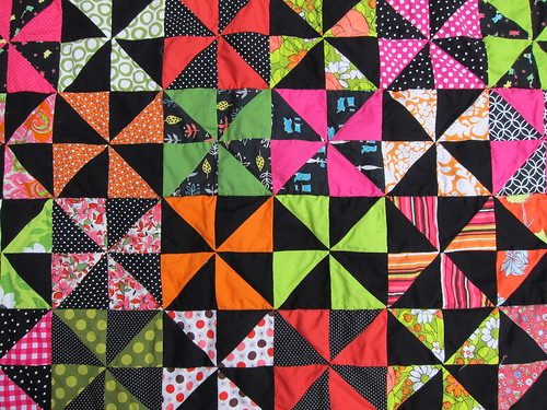 pinwheel quilt, close-up