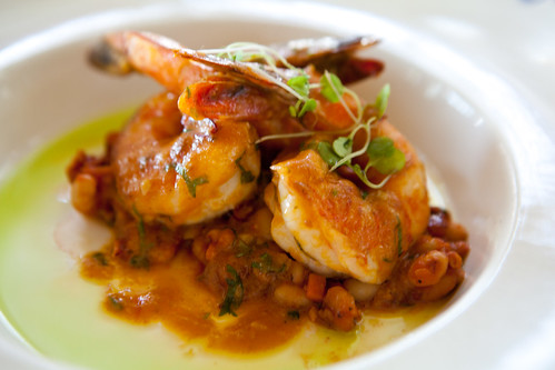 Prawn with navy beans