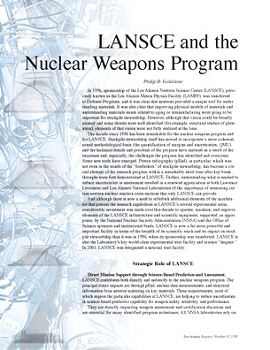 LANSCE and the Nuclear Weapons Program