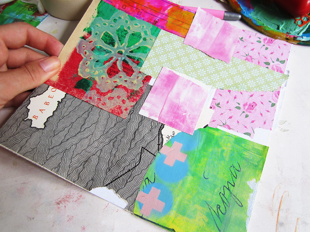 First step: collaged papers in patchwork manner