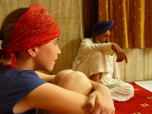 Listening to Sikh guru