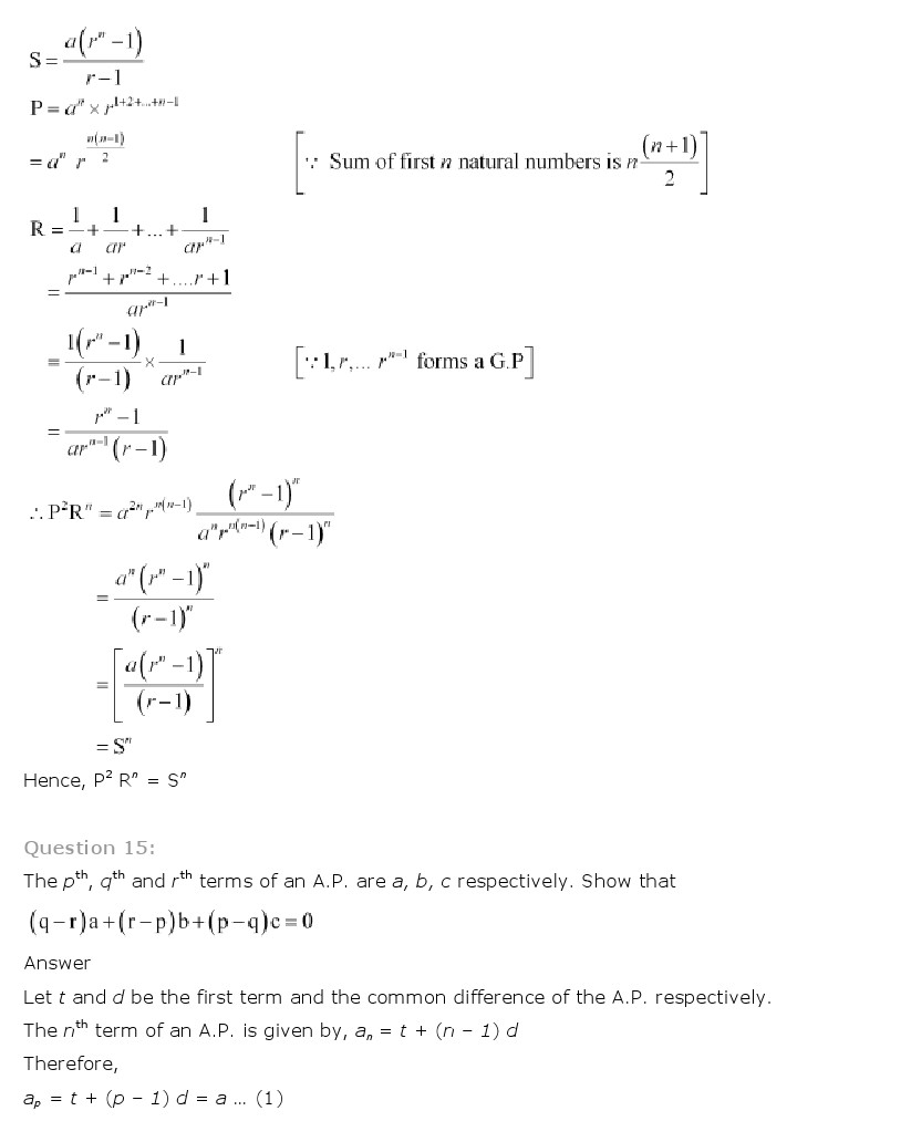 NCERT Solutions for Class 11th Maths Chapter 9 Sequences and Series