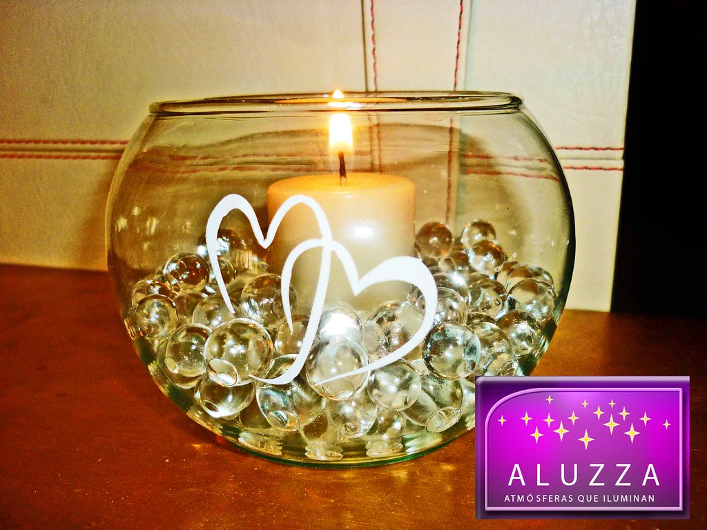 Peceras de cristal con vela e hidrogel aluzza en mercado libre - Centro mesa velas ...
