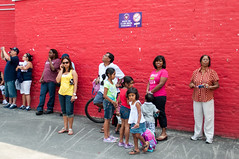 Families Waiting for Tickets, Coney Island, New York, USA