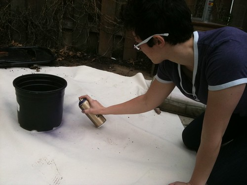 Spray Painting Pots