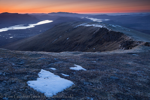 Just before sunrise from the summit of Fionn Bheinn, looking over to Loch Fannich