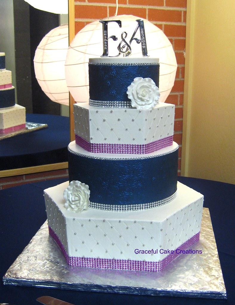 Elegant Navy Blue And White Wedding Cake Butter Cream Iced Flickr