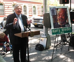 Tom Duane speaks at Harry Wieder Way