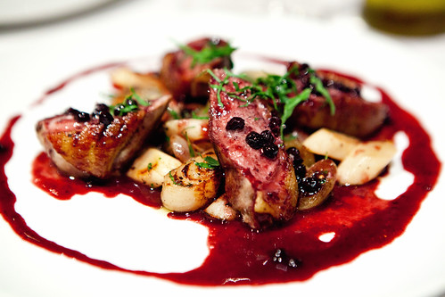 Seared Duck Filet, Sautéed Salsify, Cippolini Onion, Huckleberry