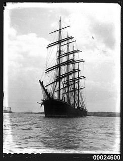 Four-masted steel barque GUSTAV possibly in Rose Bay, Sydney