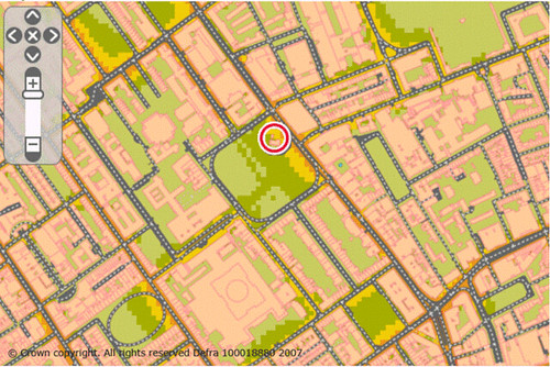 Russell Square & surroundings nighttime noise map (by: UK Dept of Environment, Food & Urban Affairs)