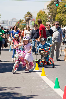 19003 Boy joins girl at cones of Freedom From Training Wheels on Valencia north of 24th St. | by geekstinkbreath