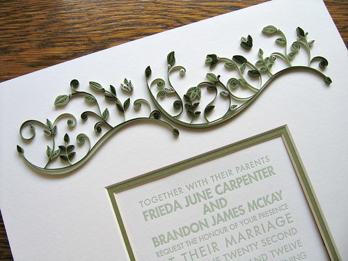Wedding Invitation with Quilled Seedlings