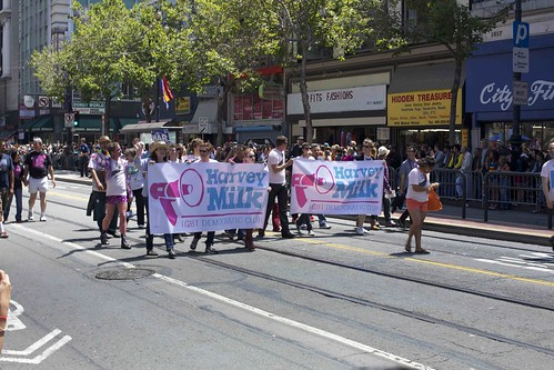 Harvey Milk LGBT Democratic Club with banner