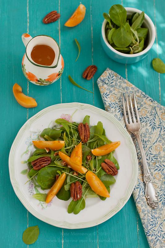 Arugula salad, apricots, pecans