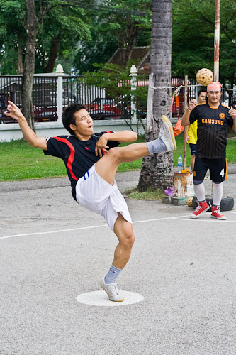 Serving at Sepak Takraw