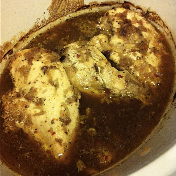 Chicken in the #CrockPot with onion soup mix & sun dried tomato dressing! Yum! Yum!