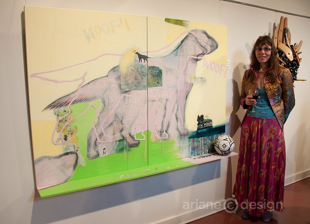 "Artist poses in front of her work ""Woof"""