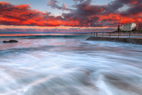 ocean sunset water clouds waves sydney australia nsw newsouthwales cronulla sutherlandshire crockpool