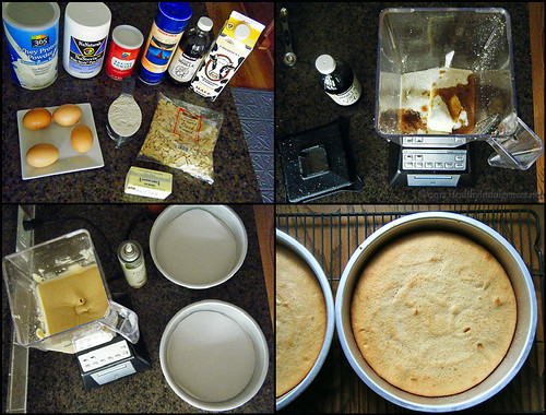 Making healthy yellow cake in a blender